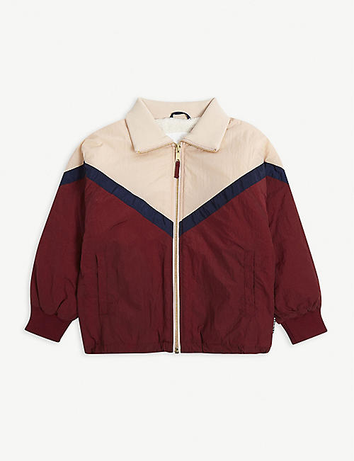 MOLO: Chevron-pattern colour-blocked shell bomber jacket 4-14 years