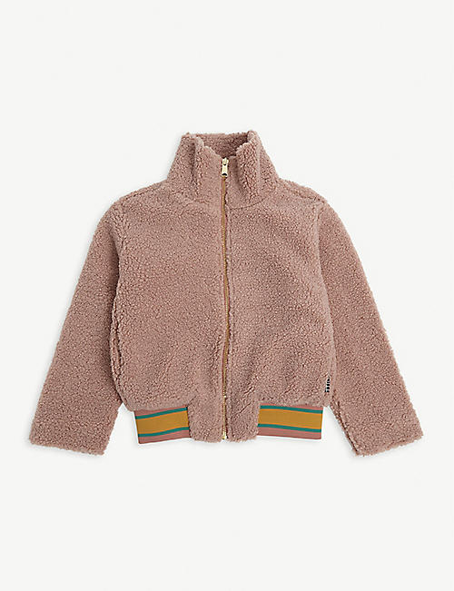 MOLO: Striped-waistband high-neck fleece bomber jacket 4-14 years