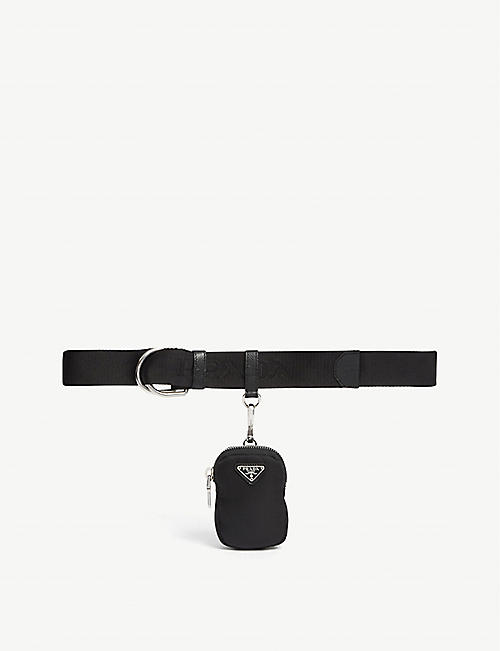 PRADA: Nylon and leather belt with charm