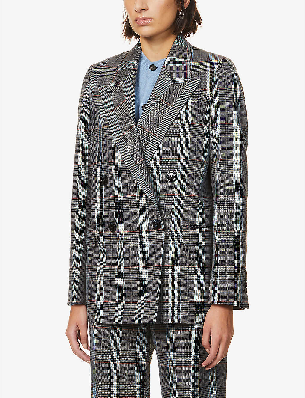 ACNE STUDIOS: Janny checked wool-blend blazer