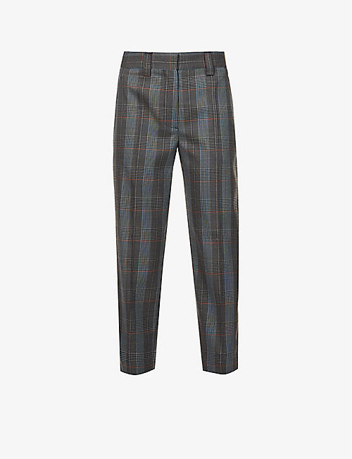 ACNE STUDIOS: Checked tapered mid-rise wool-blend trousers