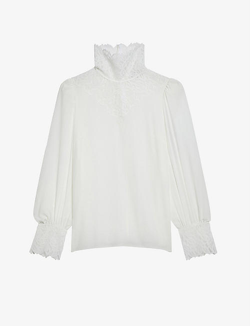SANDRO: Lace-trimmed silk blouse