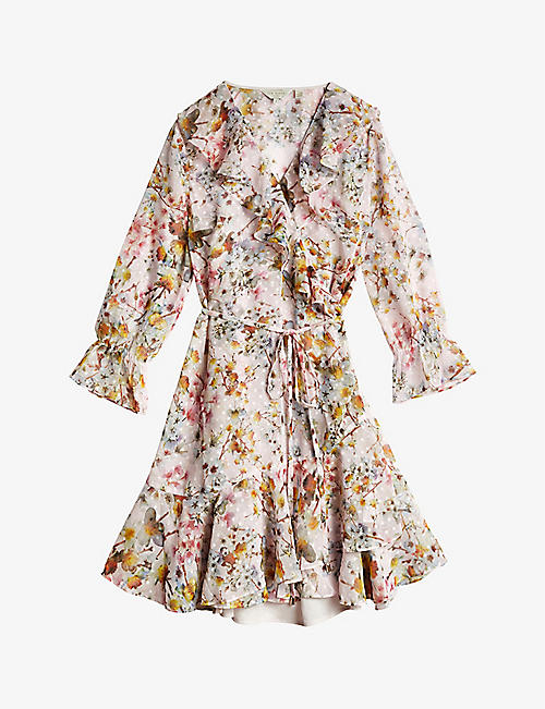 TED BAKER: Gracye Jasmine-print ruffle crepe wrap dress