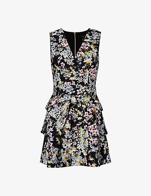 TED BAKER: Jasmine floral-print crepe mini dress