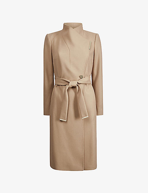 TED BAKER: Rose wrap wool-blend coat