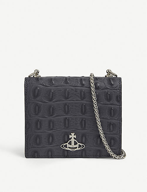 VIVIENNE WESTWOOD: Sofia croc-embossed leather wallet-on-chain