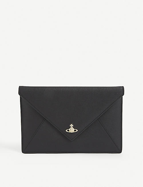 VIVIENNE WESTWOOD: Victoria leather envelope clutch