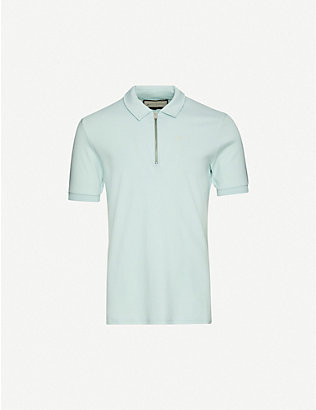 PREVU: Zipped cotton polo shirt