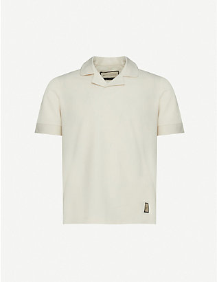 PREVU: Logo-patch woven polo shirt