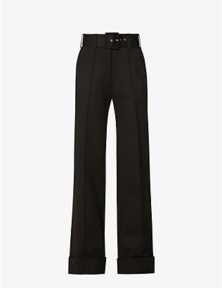 VICTORIA VICTORIA BECKHAM: High-rise belted stretch-woven trousers