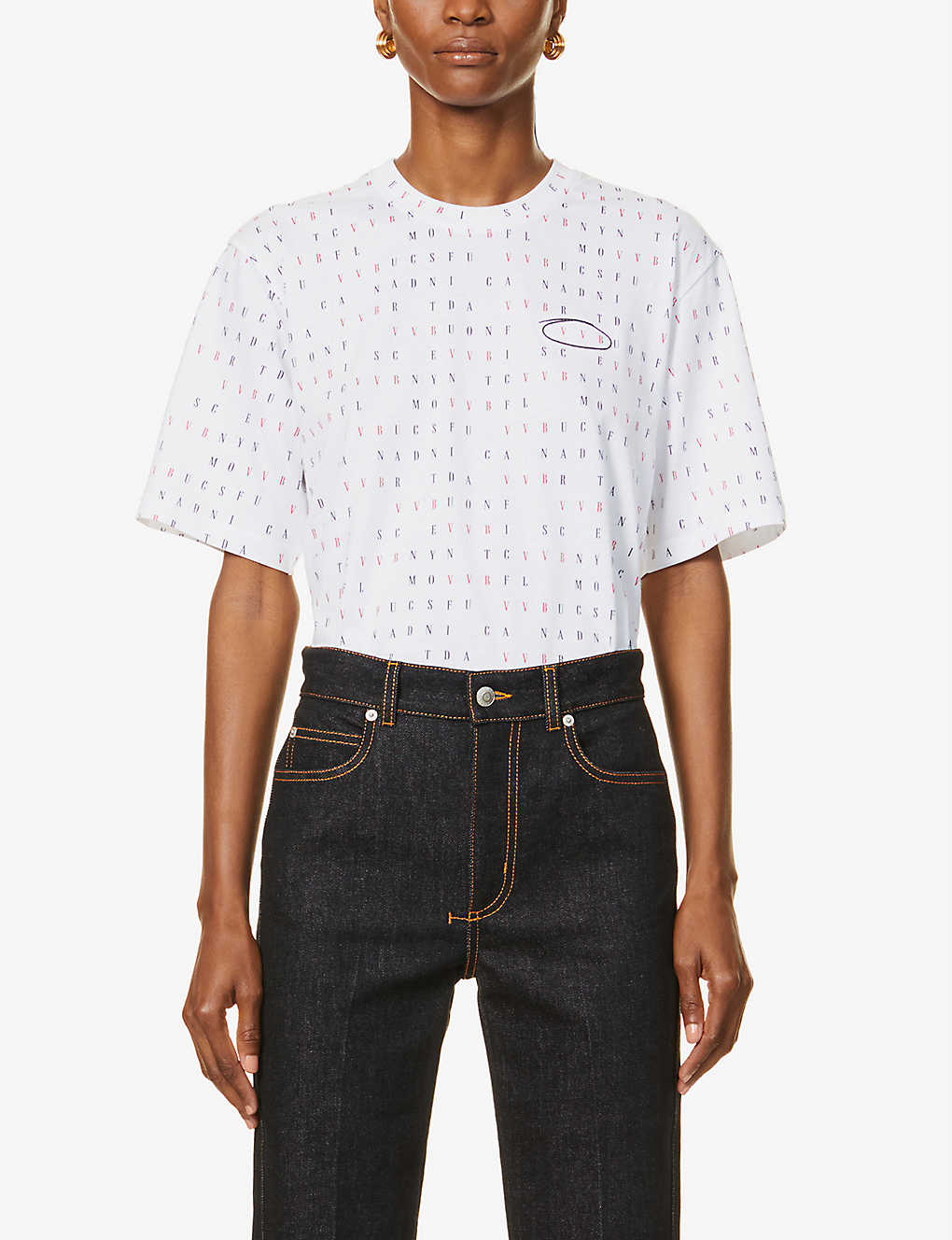 VICTORIA VICTORIA BECKHAM: Word search logo-print cotton-jersey T-shirt