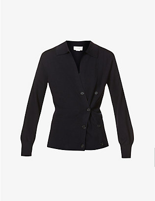 VICTORIA VICTORIA BECKHAM: Asymmetric buttoned wool cardigan