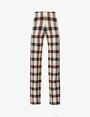 VICTORIA VICTORIA BECKHAM: Check high-rise stretch-knitted trousers