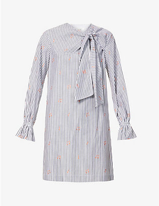 VICTORIA VICTORIA BECKHAM: Pinstriped cotton-poplin mini dress