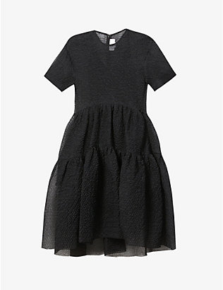 VICTORIA VICTORIA BECKHAM: Tiered crepe midi dress