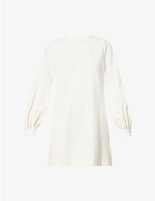 VICTORIA VICTORIA BECKHAM: Bell sleeve stretch-twill mini dress