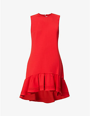 VICTORIA VICTORIA BECKHAM: Sleeveless pin-tucked hem stretch-woven midi dress