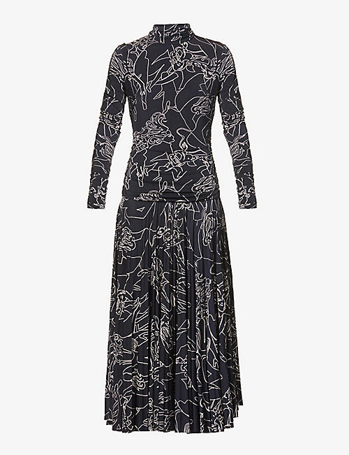 VICTORIA VICTORIA BECKHAM: Graphic-print stretch-woven midi dress