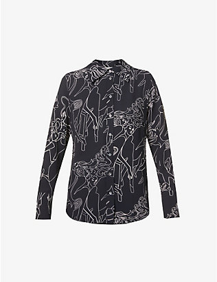 VICTORIA VICTORIA BECKHAM: Graphic-print slim-fit stretch-crepe shirt