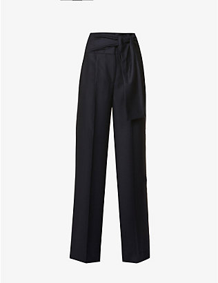 VICTORIA VICTORIA BECKHAM: Self-tie belt wide-leg high-rise wool trousers