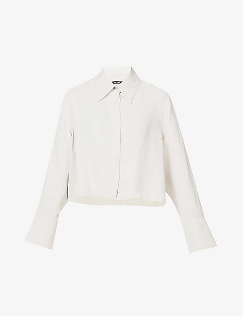SONG FOR THE MUTE: Script raw-hem cropped twill shirt