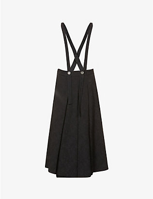 SONG FOR THE MUTE: Pinafore pleated high-rise jacquard midi skirt