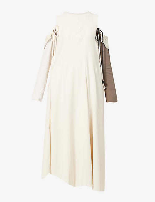 SONG FOR THE MUTE: Detachable long-sleeve woven maxi dress