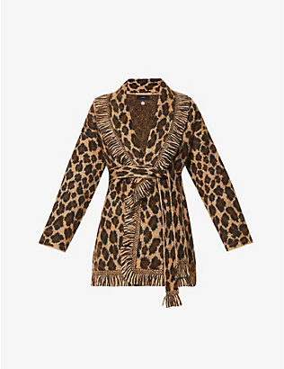 ALANUI: Leopard animal-print knitted cardigan