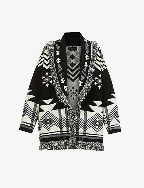 ALANUI: In The Dark geometric-pattern wool- and cashmere-blend cardigan