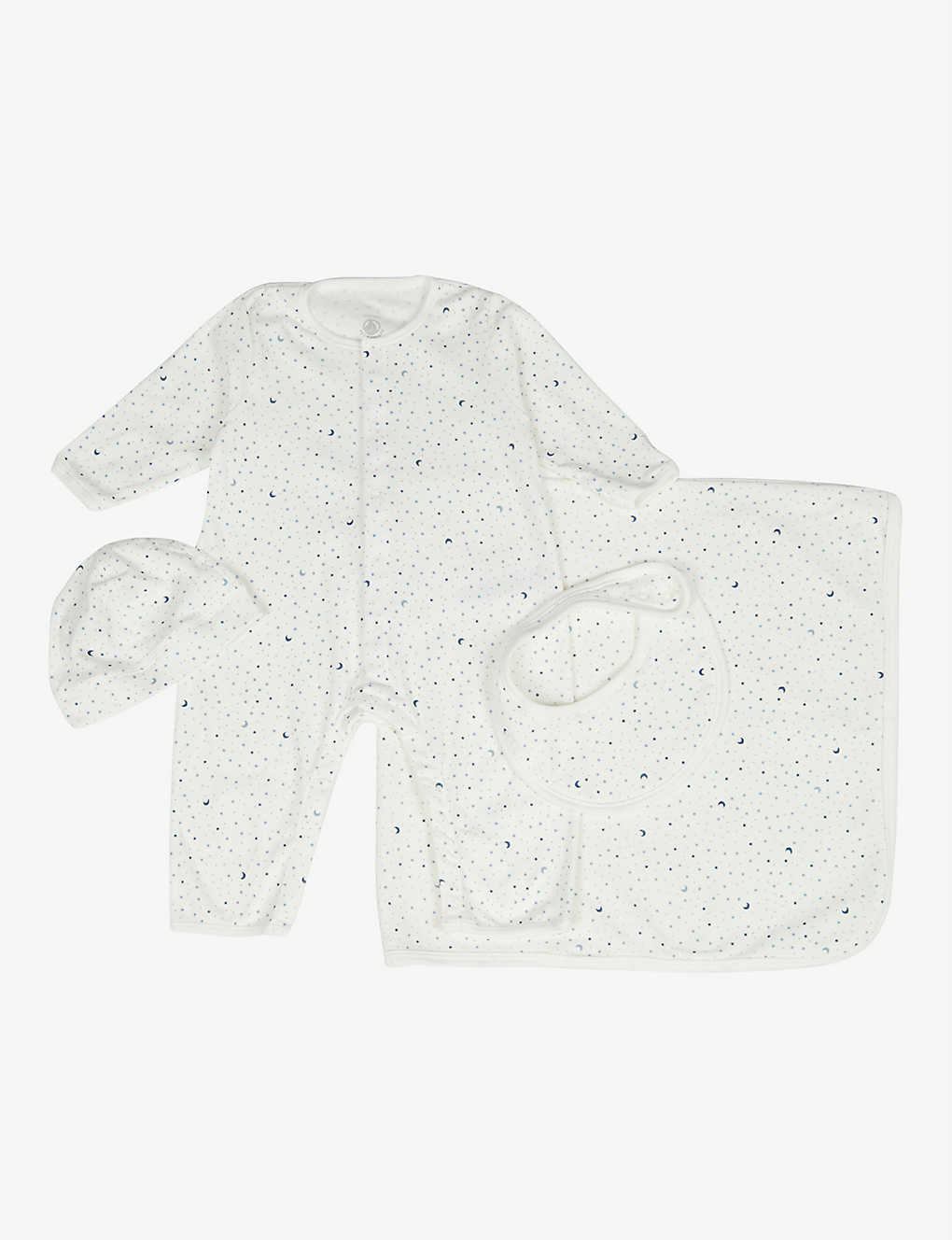 PETIT BATEAU: Moon-print organic-cotton baby grow, hat, bib and blanket set 0-12 months