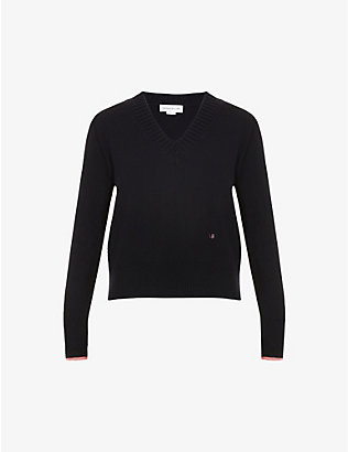 VICTORIA BECKHAM: V-neck logo-embroidered stretch-cashmere jumper