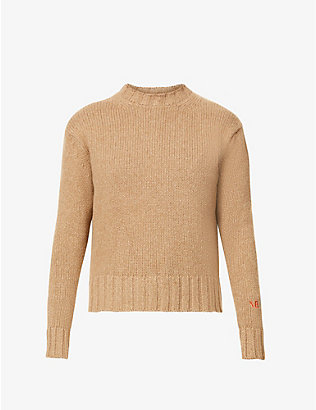 VICTORIA BECKHAM: Logo-embroidered wool and cashmere-blend jumper