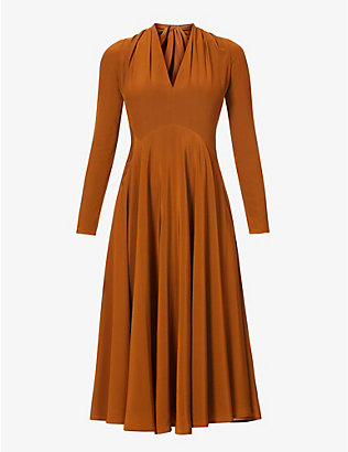 VICTORIA BECKHAM: Crossover silk midi dress