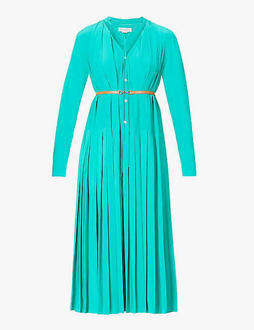 VICTORIA BECKHAM: Pleated belted silk midi dress