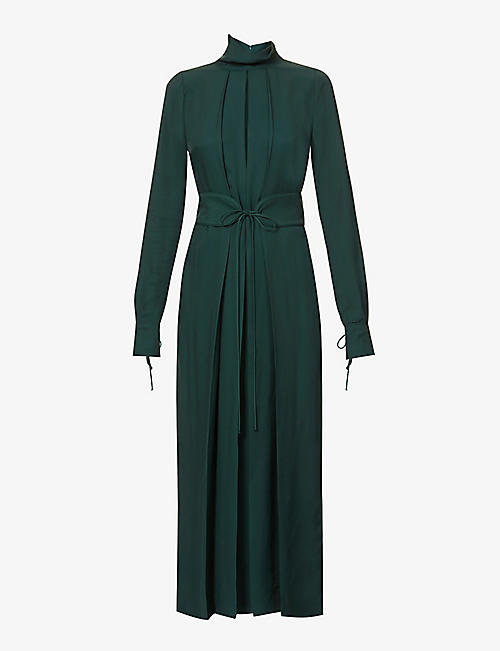 VICTORIA BECKHAM: Funnel-neck belted pleated crepe midi dress