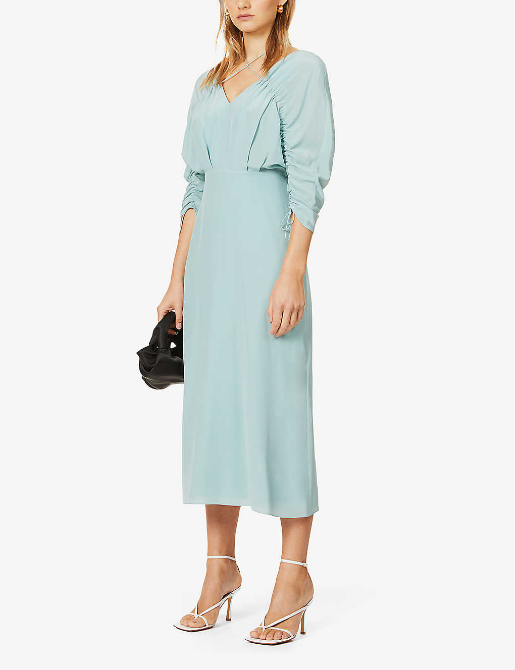 VICTORIA BECKHAM: Raglan-sleeved V-neck silk midi dress
