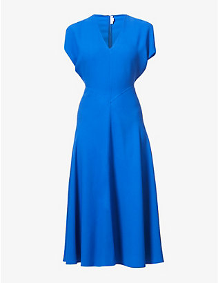 VICTORIA BECKHAM: Dolman-sleeved stretch-crepe midi dress