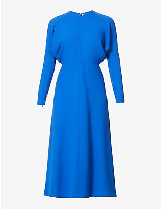 VICTORIA BECKHAM: Dolman-sleeved round-neck stretch-crepe midi dress
