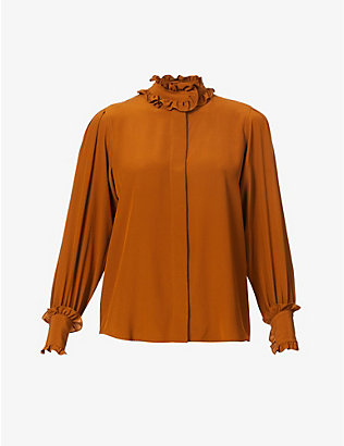 VICTORIA BECKHAM: Frilled-trim regular-fit silk shirt