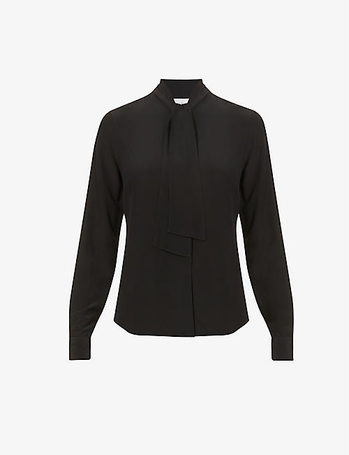 VICTORIA BECKHAM: Tie-collar regular-fit silk shirt