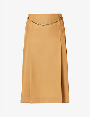 VICTORIA BECKHAM: Chain-appliqué high-waist wool skirt