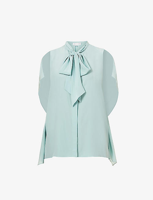 VICTORIA BECKHAM: Sleeveless tie-collar silk shirt