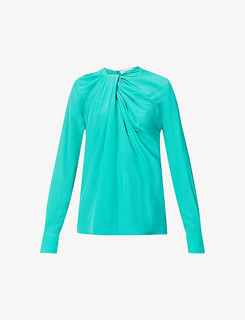 VICTORIA BECKHAM: Scoop-neck twist-knot silk-crepe shirt