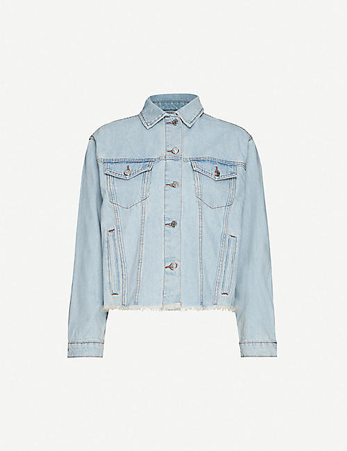 TOPSHOP: Raw-hem oversized denim jacket