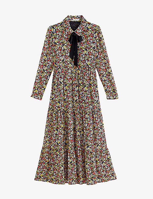 CLAUDIE PIERLOT: Floral-print crepe maxi dress