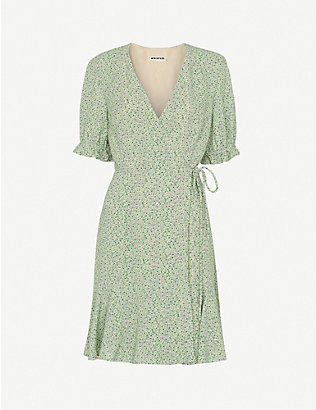 WHISTLES: English Garden floral-print crepe mini wrap dress
