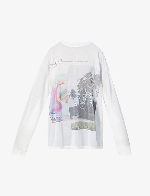 FENTY: Graphic-print cotton-blend mesh t-shirt