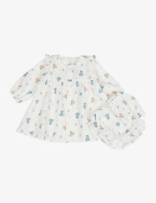 PETIT BATEAU: Floral-print organic-cotton dress and bloomers set 6-36 months