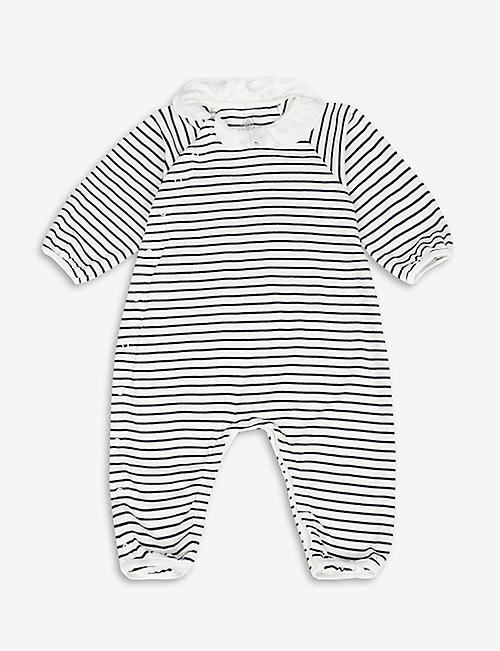 PETIT BATEAU: Striped organic cotton babygrow 0-12 months