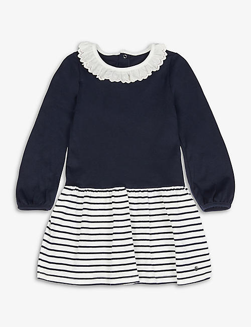 PETIT BATEAU: Stripe organic cotton-jersey dress 6-24 months